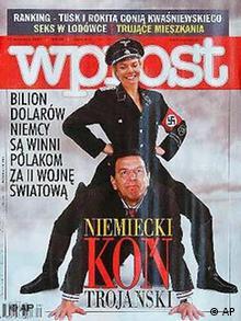 Фотомонтаж в польской газете WPROST: Ерика Штайнбах в эсэсовской униформе оседлала тогдашнего канцлера Герхарда Шредера