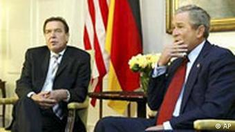 Gerhard Schröder und George Bush Gespräch