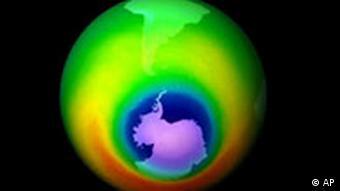 Darstellung des Ozonlochs mit Hilfe des Total Ozone Mapping Spectrometers (TOMS) Klimaschutz Klima Erde Treibhausgas