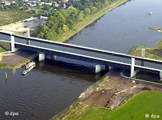 The massive water bridge over the Elbe river cost around €500 million.