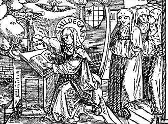Grabado con la imagen de la mística alemana Hildegard von Bingen.